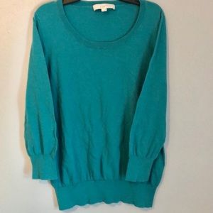 Ann Taylor Loft Turquoise ScoopNeck Cotton Sweater